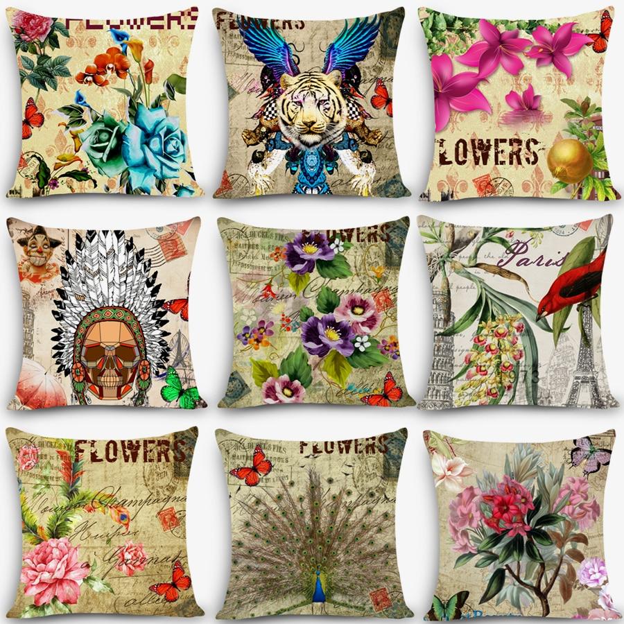 "Vintage European flower pillows floral butterfly Home Decorative Cushion Throw Pillow 18"" Vintage Cotton Linen pillowcase MYJ-B6"