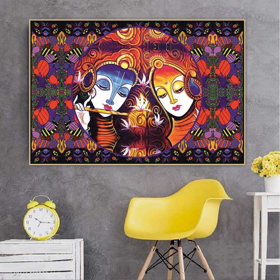 Radha Krishna Jodi Indian God Handmade Hinduism Moral Canvas Painting Poster Print POP Wall Art Pictures for Wall Art Decor