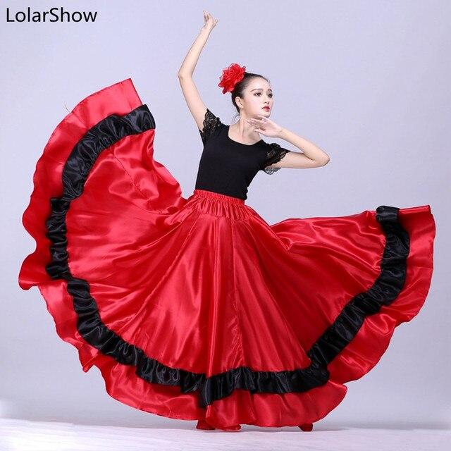8b279aa96 € 15.02 14% de DESCUENTO|Falda de Flamengo para niña, faldas de danza del  vientre, falda de baile español, falda de Flamenco para mujer en ...
