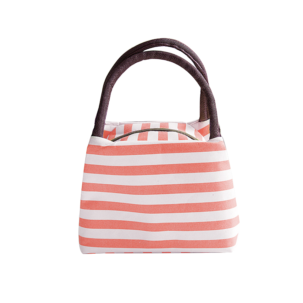 все цены на Portable Zipper Striped Lunch Bag Case Travel Picnic Tote Food Storage Handbag онлайн