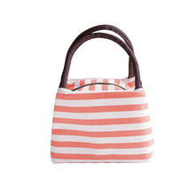 Portable Zipper Striped Lunch Bag Case Travel Picnic Tote Food Storage Handbag