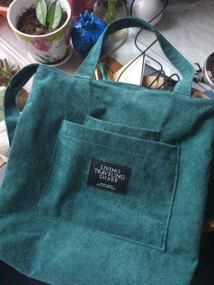 Women Corduroy Canvas Tote Ladies Casual Shoulder Bag Foldable Shopping Bags Beach Bag Cotton Cloth Female Handbag photo review