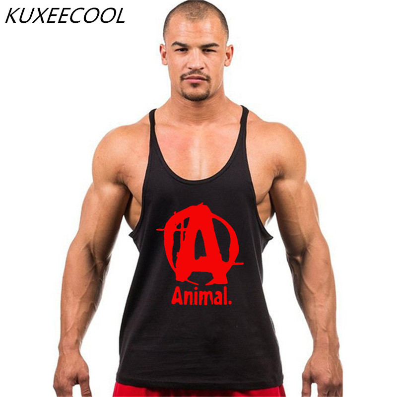 famous brand animal letter print   tank     top   men 10 colors bodybuilding stringer   tank     tops   fitness singlets simple and comfortable