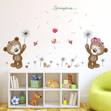 Happy bear palying dandelion wall stickers for baby room removable cute nursery decals kids bedroom pictures