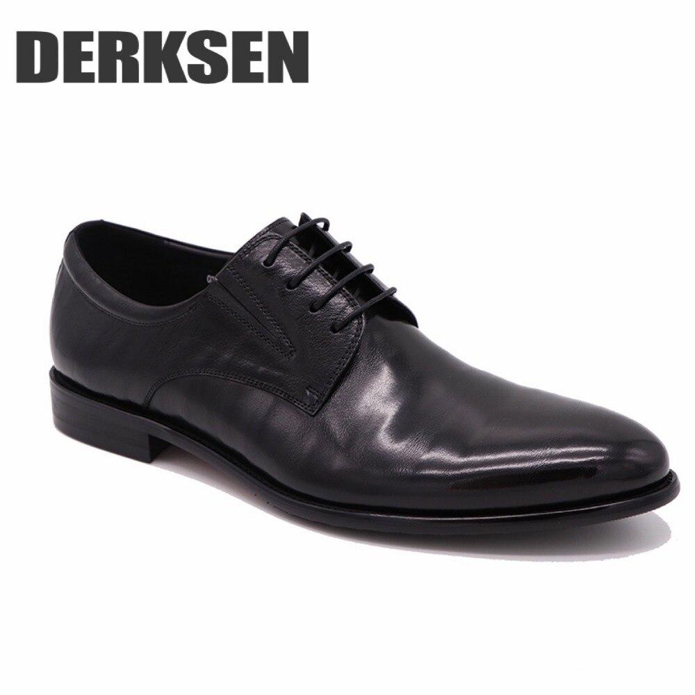 Robe Hommes CuirDoublure Confortable Et Lanières Chaussure De ChaussuresPremière En IntérieureRespirant Couche Noir Cuir Derksen D'affaires PZikuX