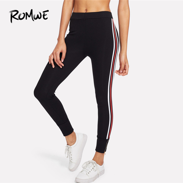 7b393cf60a Romwe Sport Black Striped Tape Zip Women Fitness Running Tights 2018 Skinny  Gym Outdoor Workout Jogging