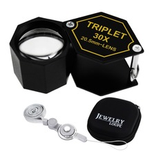 30x Jeweler 20.5mm Gem Loupe Magnifiers Jewelry Triplet Lens Coin Mechanics Machinists Optical Glass Magnification
