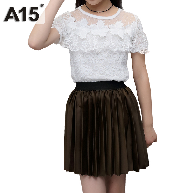 A15 Summer Children Clothing Set Clothes Lace T Shirt Skirt Two-piece Toddler Girl Clothing Set Girls Clothes Suit 4 6 8 10 Year belababy 4 10t girl sport clothing set 2016 summer children cartoon lace backless t shirt harem pants 2pcs teenager clothes suit