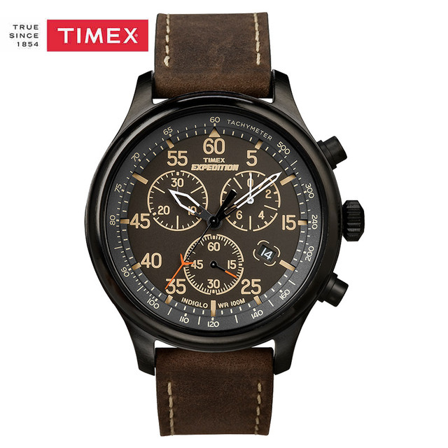 e46e160d5800 Timex Men s T49905 Expedition Rugged Field Chronograph Black Brown Leather  Strap Watch