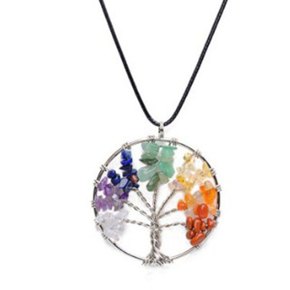 Women Rainbow 7 Chakra Tree Of Life Pendant Necklace Multicolor Wisdom Tree Natural Stone Necklace