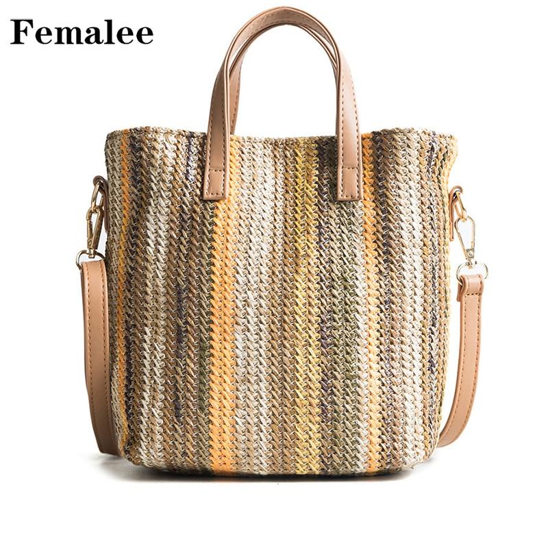 FEMALEE Big Bucket Bags Female Summer Knitting Shoulder Straw Bags Sweet Hot Fashion Shopping Bag Holiday Crossbody Bag Handbags ...