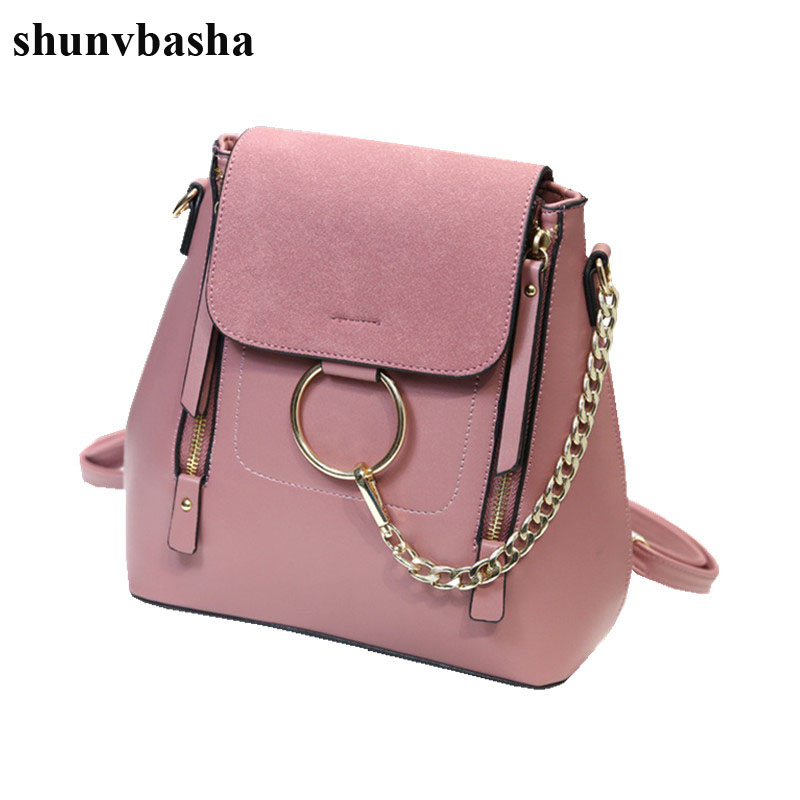 Luxury Brand Leather Backpacks Women School Bags For Teenage Girls Fashion Chain Designer Mochila Escolar Female Shoulder Bags vintage tassel women backpack nubuck pu leather backpacks for teenage girls female school shoulder bags bagpack mochila escolar