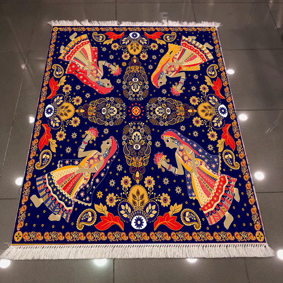 Else Blue Floor On Red Persian Ethnic Girl 3d Pattern Print Microfiber Anti Slip Back Washable Decorative Kilim Area Rug Carpet