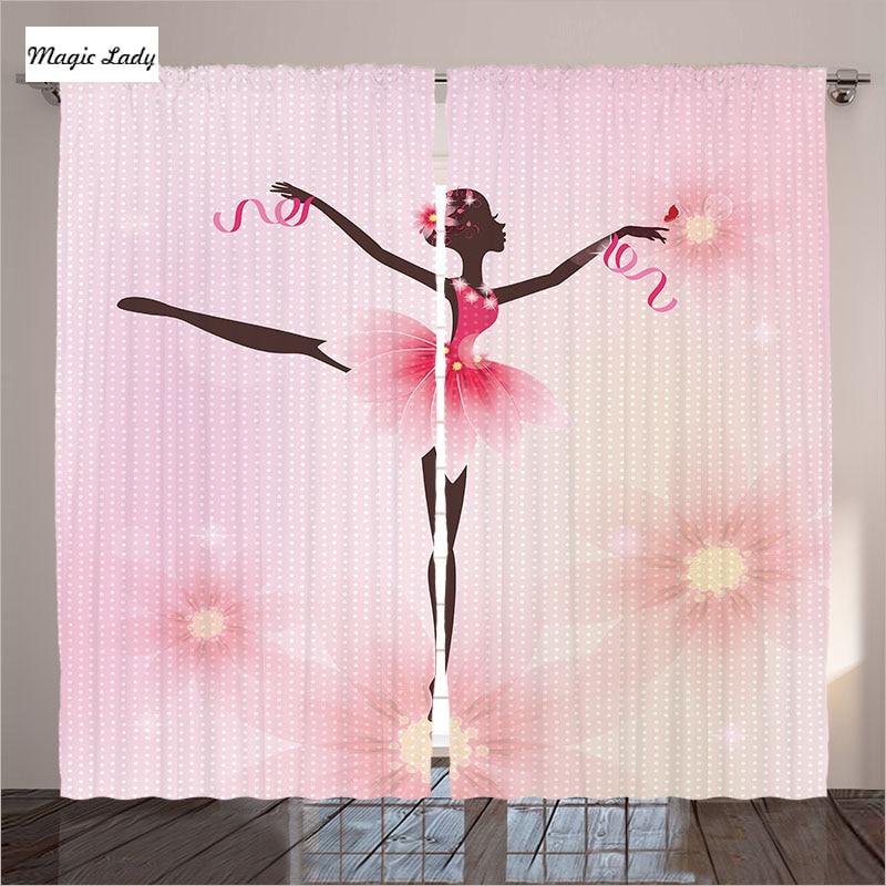 Curtains Pink Blackout Living Room Bedroom Ballerina Ballet Trees