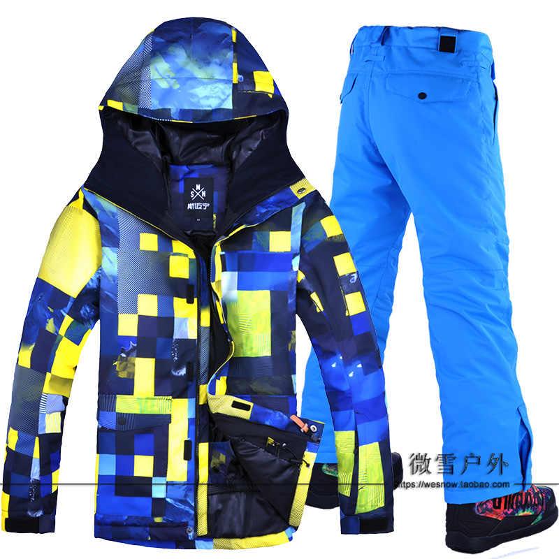 2018 для мужчин лыжная куртка брюки сноуборд костюм ветрозащитный  непромокаемые супер теплые зимние дышащие с капюшоном 795983556f4