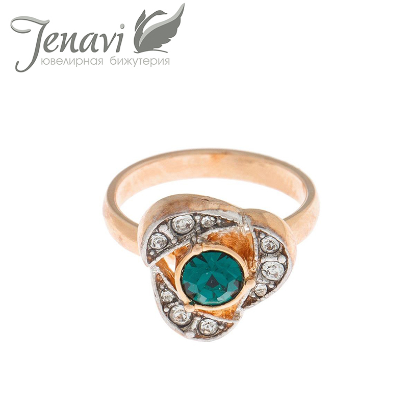 Jenavi Ring Crystal From Swarovski Gold Colour Vintage Finger Rings plated We