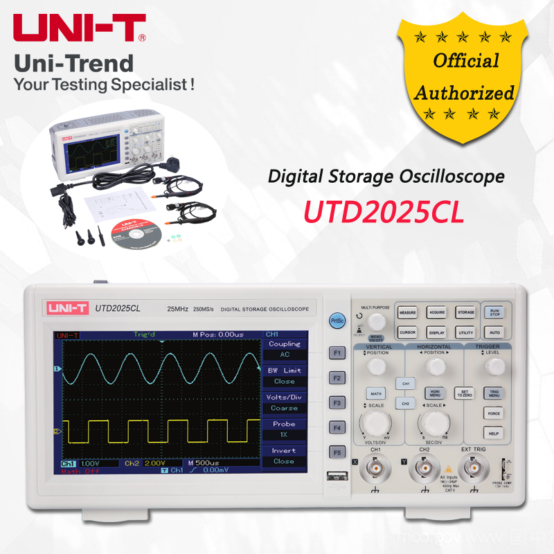 UNI-T UTD2025CL Digital Storage Oscilloscope; 2Channels, 25MHz Bandwidth, 250Ms/s Sample Rate, USB Communication hso321s 3225 25m 25mhz 25 000mhz