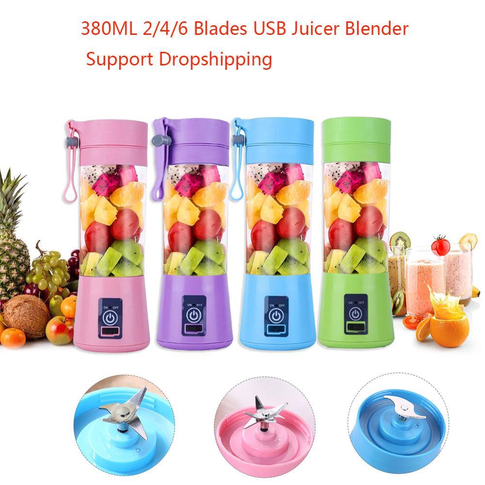 2/4/6 Blades 380ML Handhels USB Juicer Bottle Portable USB Electric Fruit Citrus Lemon Juicer Blender Squeezer Reamer Machine