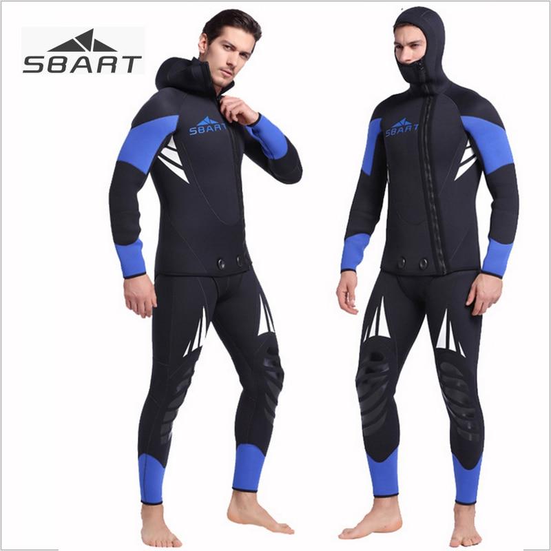 Sbart Long Sleeve 5mm Neoprene Wetsuit Men Winter Warm Hood Two-pieces Spearfishing Surfing Scuba Diving Underwater Hunting Suit