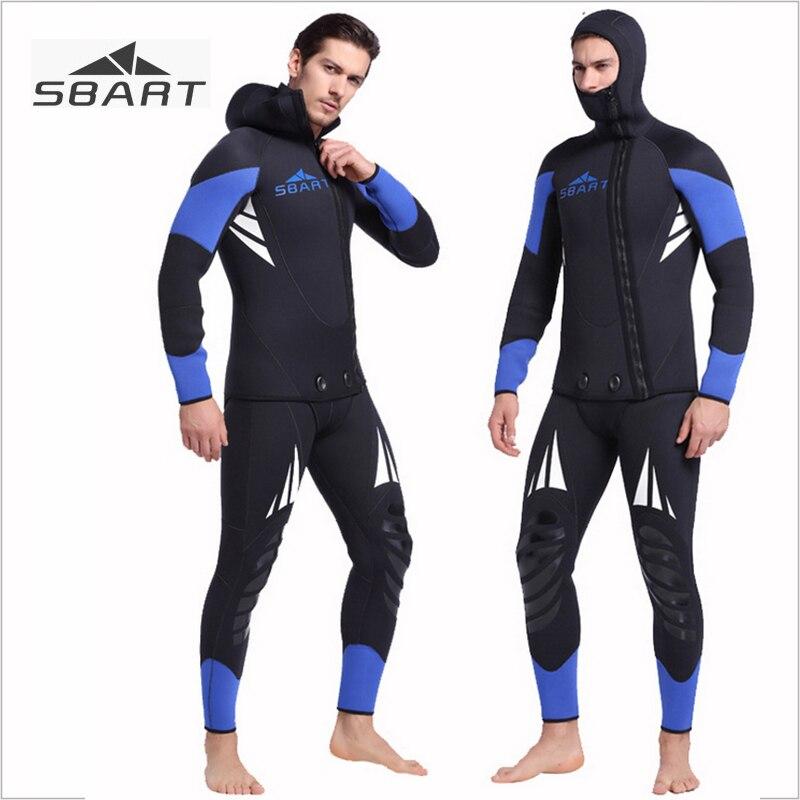 Sbart manches longues 5mm néoprène combinaison hommes hiver chaud capuche deux pièces chasse sous-marine surf plongée sous-marine costume de chasse