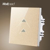 Smart House Wallpad UK 86 Size Touch Wall Light 2 Gang 1 Way Gold Glass Wall Sensor Touch Switch 220, Free Shipping