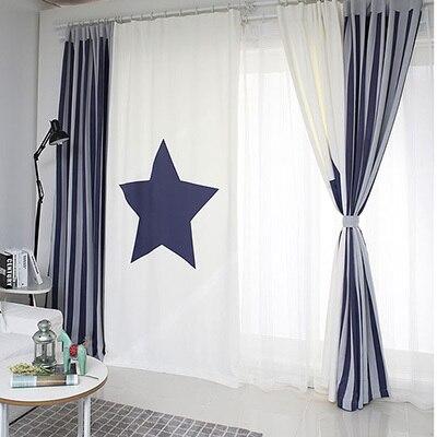 Zakázková kvalita Patchwork Záclony Záclona Obývací pokoj Okno Obvazový háček Grommet Curtain Star White Blue Strip