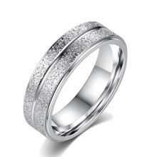 New Fashion Wedding Rings Stainless Steel Double Row Frosted Rings Titanium Steel Women Men Ring