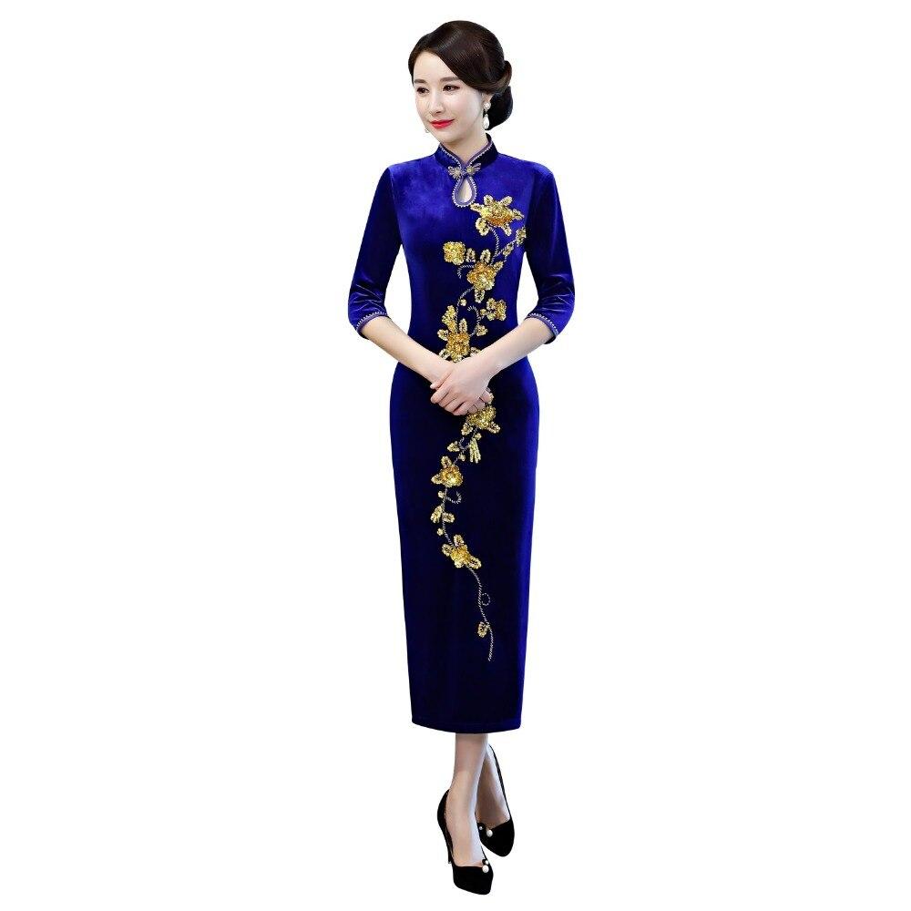 147372889 Shanghai Story 2019 nuevo vestido largo Qipao bordado Floral Cheongsam  vestido chino de Mujer ...