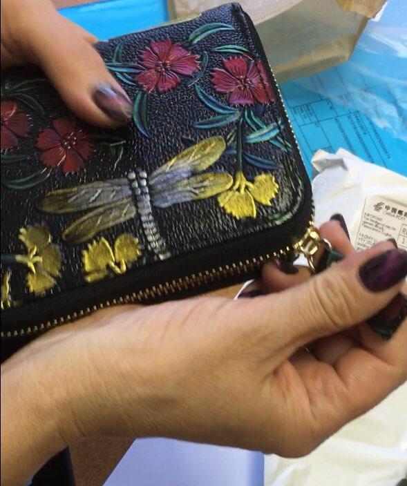 2019 Dames Creditcardhouder Echt leder RFID Visitekaartjeshouder Bloemenprint Reizen Paspoort Deksel ID Kaarthouder DC369 photo review