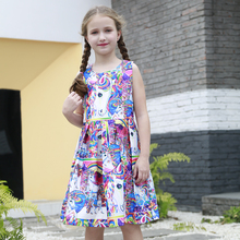 Girl Rainbow Unicorn Print Dress Sleeveless Kid Princess Floral Dress Cute Unicorn Children Licorne Pattern Birthday Party Cloth
