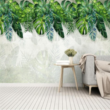 Nordic small fresh rainforest banana leaf garden mural wall professional production wallpaper