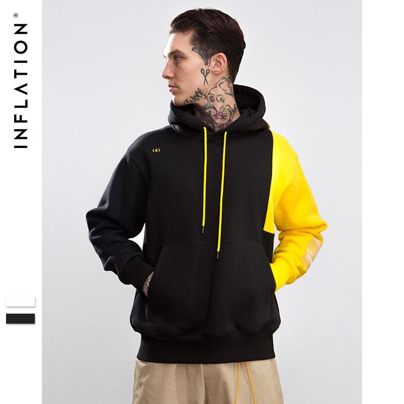 INFLATION Men 2018 Autumn Oversized Men's Hoodies Patchwork Color Block Pullover Hip Hop Hoodies Fleece Hooded For Men 8802W