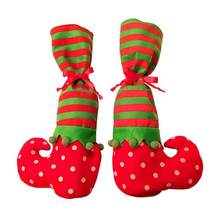 Pair of Christmas Table Leg Covers Elf Elves Feet Shoes Legs Party Decorations(China)