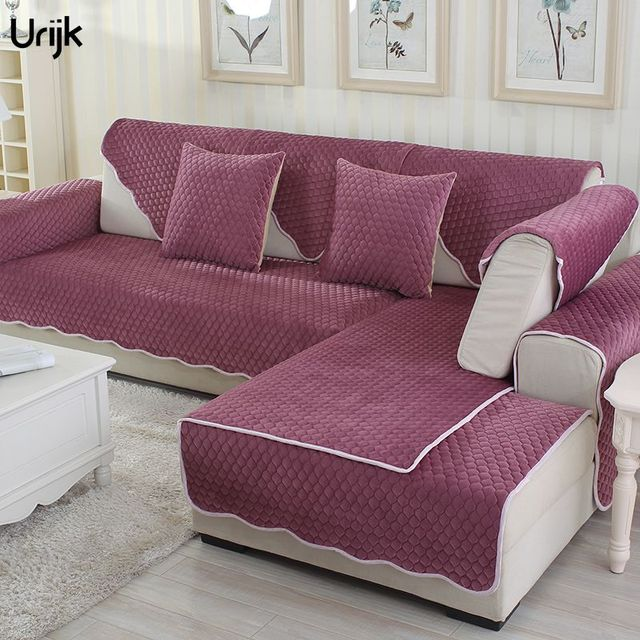Urijk 1PC European Style Sofa Cover Wine Red Color Plush Short Fur
