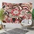Başka bir Kırmızı Kahverengi Etnik Mandala hint Tasarım Çiçekler 3D Baskı Dekoratif Hippi Bohemian Duvar Asılı Peyzaj Goblen Duvar Sanatı