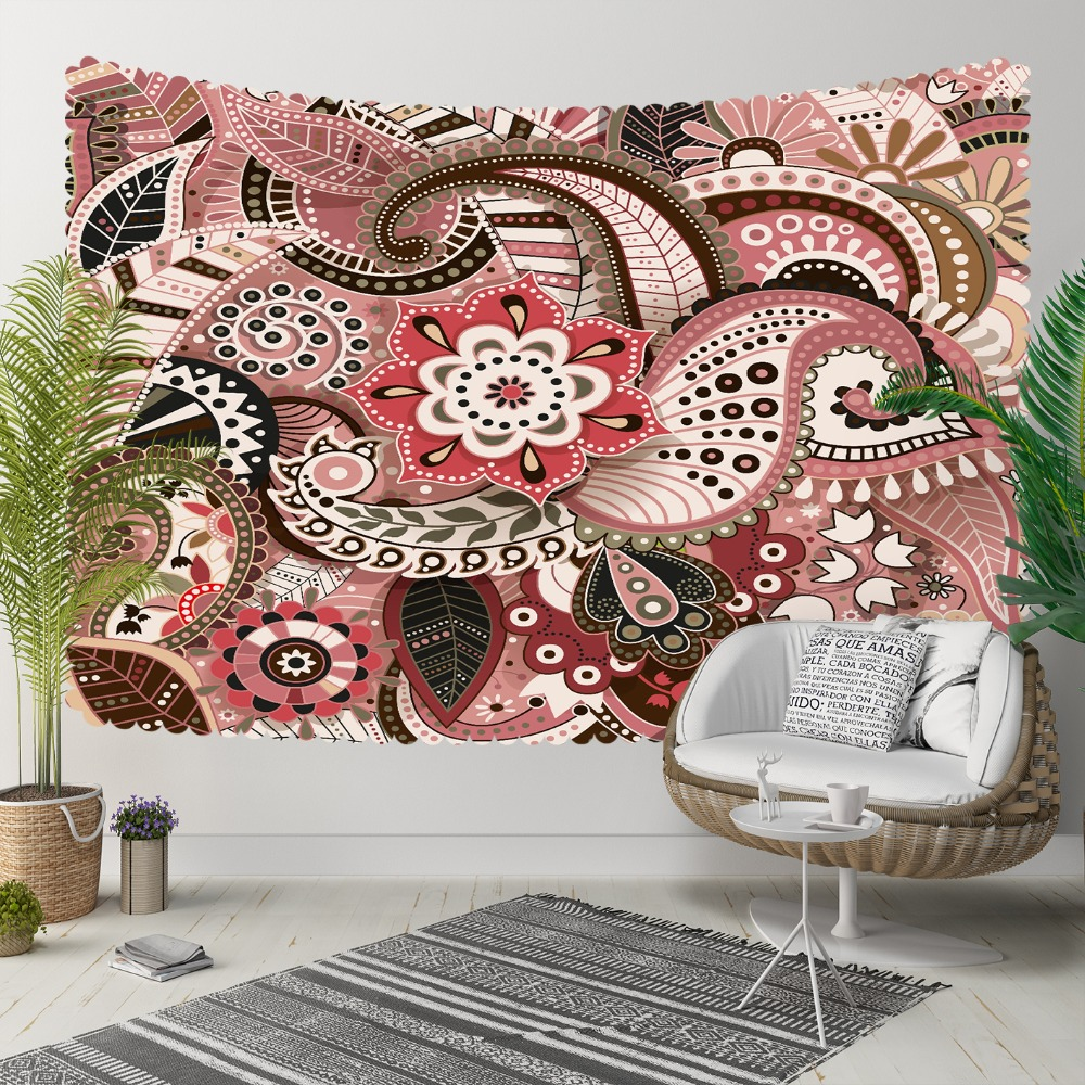Else Red Brown Ethnic Mandala Indian Design Flowers 3D Print Decorative Hippi Bohemian Wall Hanging Landscape Tapestry Wall Art