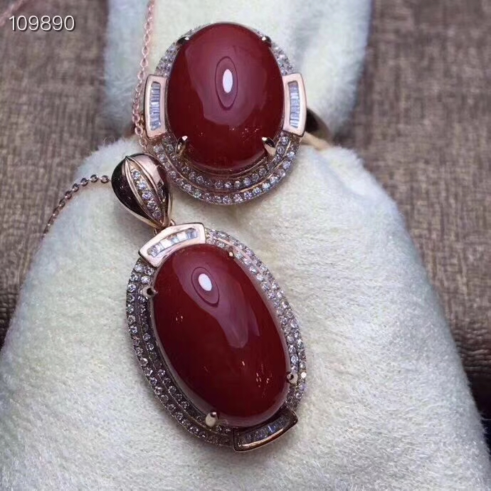 KJJEAXCMY boutique jewels 925 Silver-inlaid Natural Red Coral Ring Pendant Set Support Detection