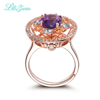 l&zuan 925 sterling silver 1.61ct Amethyst Purple Stone Prong Setting Two kinds of wear Ring Jewelry for Women Gift