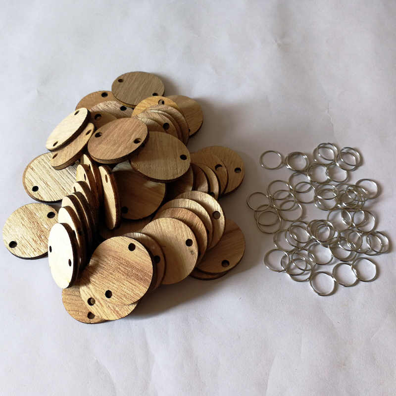 50 PCS Unfinished Wood Discs Coins Circles with Holes DIY Family Birthday New