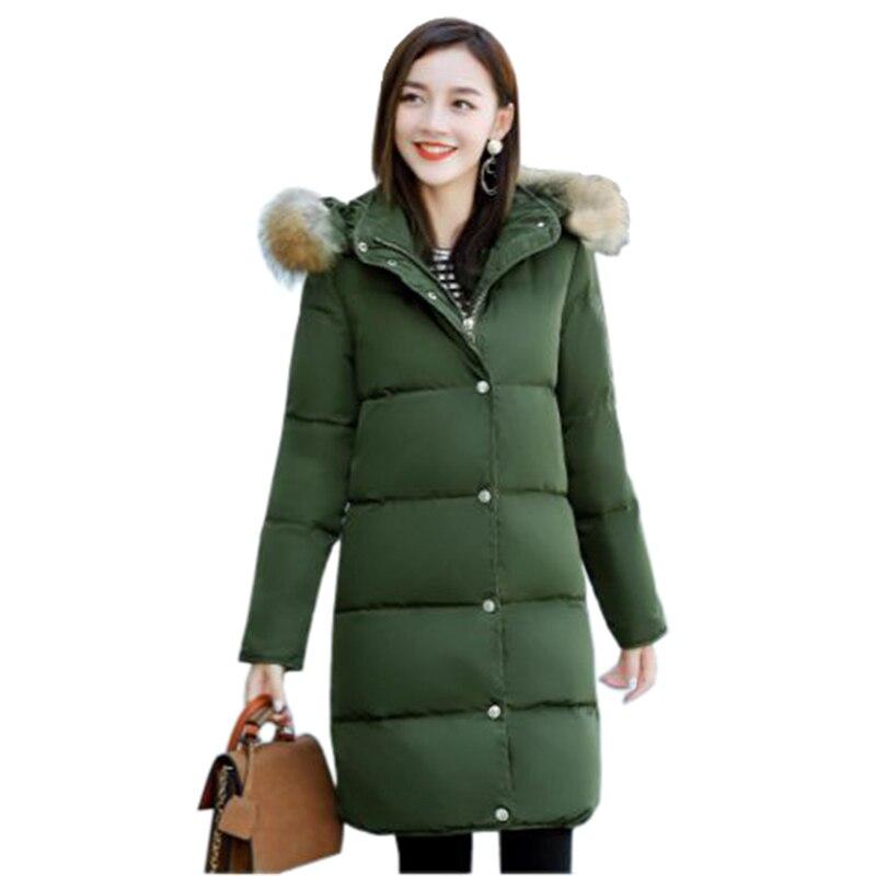 Femmes hiver coton veste Longue section de col De Fourrure à capuchon survêtement haute qualité épais chaud Parka Femme Pardessus