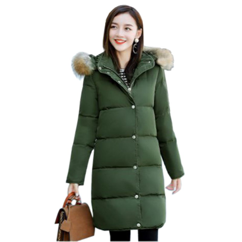 Women's winter cotton jacket Long section Fur collar hooded outerwear high quality thick warm   Parka   Female Overcoat