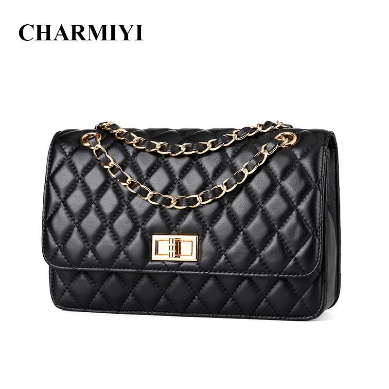 CHARMIYI Brand Genuine Leather Women Messenger Bags Chain Casual Ladies Shoulder Bags Female Crossbody Bag Feminina Bolsas Sac brand fashion women bag female chain shoulder crossbody bags ladies split leather geometric pattern hit color messenger bags sac