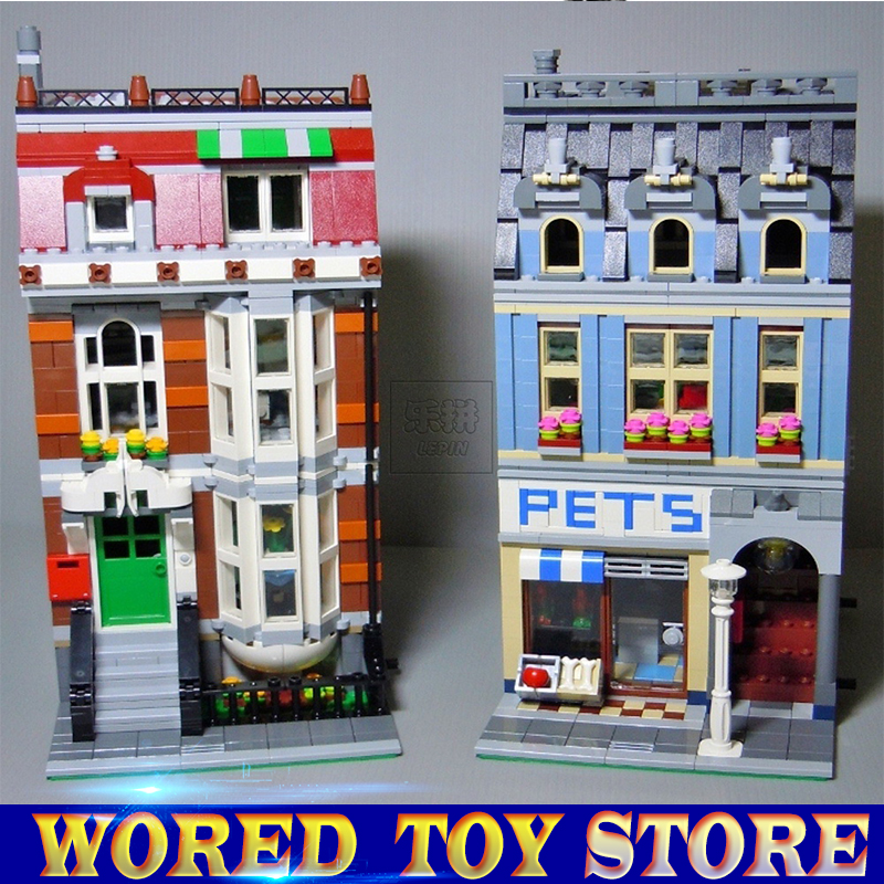 NEW LEPIN 15009 Pet Shop Supermarket Model City Street Building Blocks Compatible legoed 10218 Toys For Children gift lepin 15009 pet shop supermarket model city street building blocks compatible 10218 toys for children