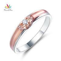 Павлин звезда Для женщин 14 К Белое золото розовое золото 2 Цвет обручальное Для женщин кольцо с бриллиантом