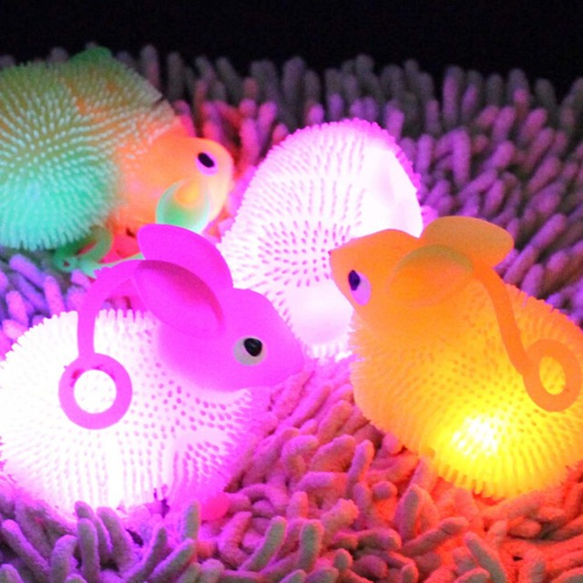 LED Light Squeeze Anti Stress Autism Flush Rabbit Flash Ball Elasticity Toy