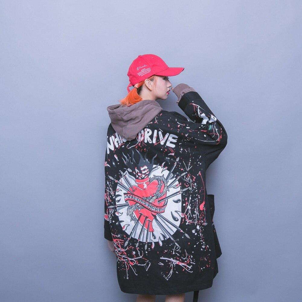Bloc Couleur Rue Col 2018 Broderie De Étiquette Hiphop Survêtement Patchwork Manches Femelle Stand Lettre Raglan Bouton PExqIqTdSw