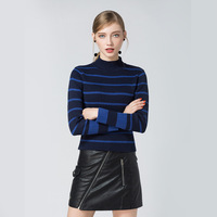 Fowylan brand Autumn winter 2017 women's dress with a half - high neckline, a sweater with a knitted sweater with a double top