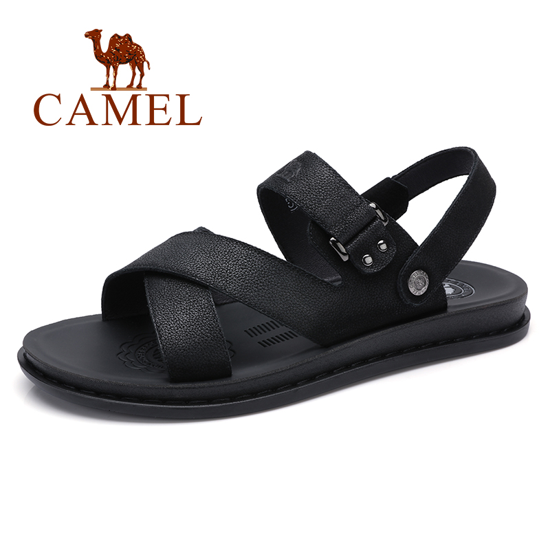 CAMEL Summer Men Sandals Trend New Simple Wild Genuine Leather Cow Leather Rome Flexible Resistant Folding