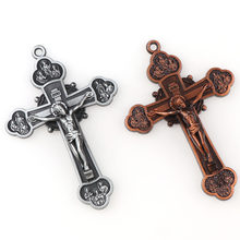 2 Colors Jesus Crucifix Christian Jewelry Crosses Charms Saint Benedict Crucifix Pattern Pendants For Pendants Necklace(China)