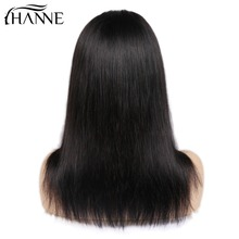 HANNE Hair 4*4 Lace Front Human Hair Wigs Middle Part Remy Straight Hair Glueless Brazilian Wig with Baby Hair for Black Women